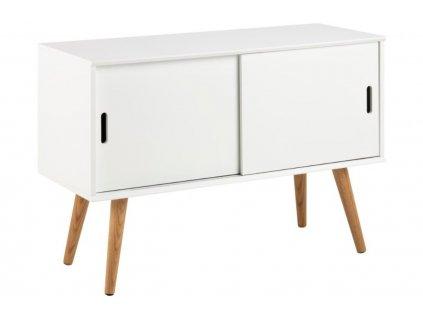 Bílá skříňka Marika 100 cm, MDF lakovaná matným bílým lakem, nohy z masivního dubového dřeva