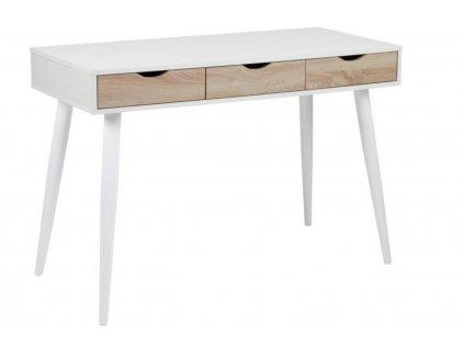 Bílý dubový pracovní stůl Pluto 110x50 cm