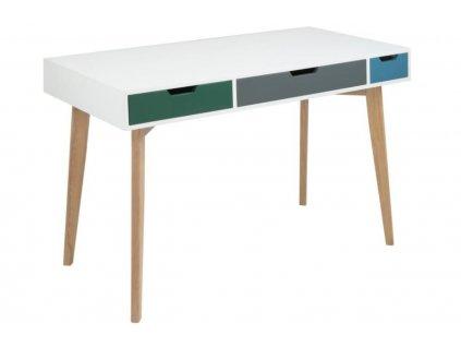 Bílý pracovní stůl Sissy 120 cm s barevnými zásuvkami