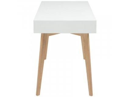 Bílý pracovní stůl Sissy 120 cm s barevnými zásuvkami, lakované MDF, masivní jasanové dřevo