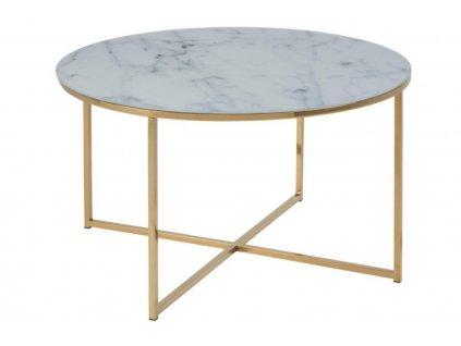 Skleněný bílý konferenční stolek Venice 80 cm, skleněná deska s otiskem bílého matného mramoru,kovzlaté barvy