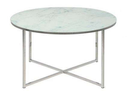 Bílý skleněný konferenční stolek Venice 80 cm, sklo s potiskem bílého matného mramoru, chromovaný kov