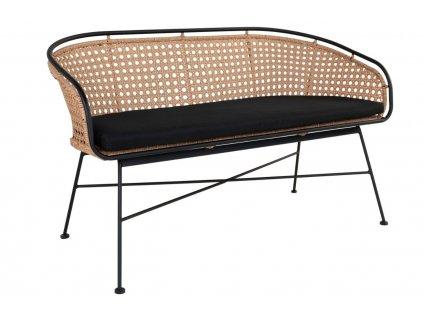 Černá ratanová zahradní lavice Gene 128 cm