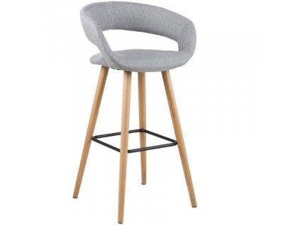 Světle šedá látková barová židle Garry 96 cm