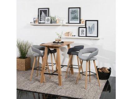 Světle šedá látková barová židle Garry 98 cm, čalounění, opěrka na nohy, protiskluzové podložky
