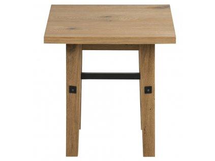 Dubový noční stolek Kiruna, lakovaná dubová dýha/dubové dřevo, černě lakovaný kov