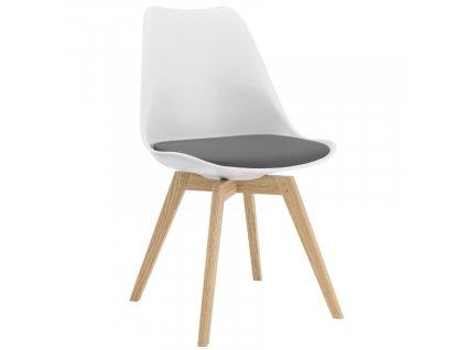 Bílá plastová jídelní židle Tenzo Bess se šedým sedákem