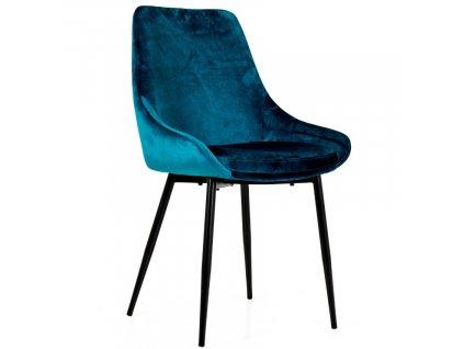 Petrolejově modrá sametová jídelní židle Tenzo Lex