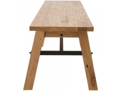 Přírodní dubová jídelní lavice Kiruna 170 cm,lakovaná dubová dýha, podnož z masivního dubového dřeva, kov lakovaný černým lakem