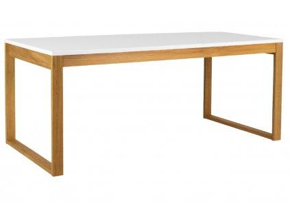 Matně bílý lakovaný dřevěný jídelní stůl Tenzo Birka 180 x 90 cm s dubovou podnoží