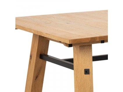 Hnědý dubový jídelní stůl Kiruna 210 cm,lakovaná dubová dýha, masivní dubové dřevo, kov lakovaný černým lakem