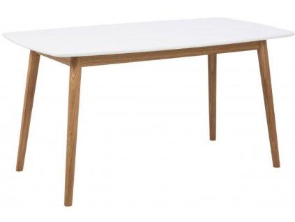 Bílý dubový jídelní stůl Nagy 150 cm, lakované MDF, masivní dubové dřevo