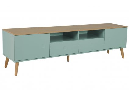 Matně šedo zelený lakovaný TV stolek Tenzo Dot 192 x 43 cm