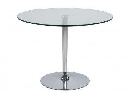 Skleněný transparentní jídelní stůl Organic 100 cm, sklo, chromovaný kov