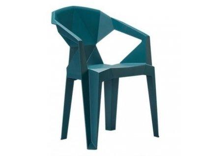 Designová plastová židle Destiny, petrolejová