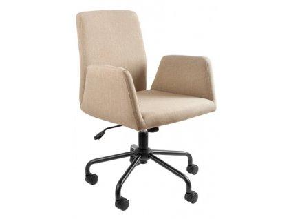 Béžová látková konferenční židle Bela na kolečkách