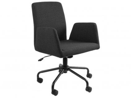 Černá látková konferenční židle Bela na kolečkách