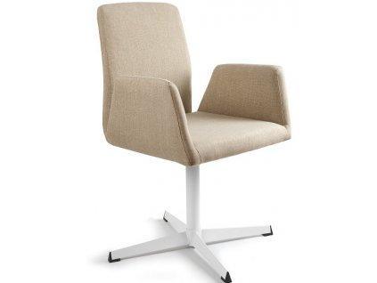 Béžová konferenční židle Bela s pevnou kovovou základnou