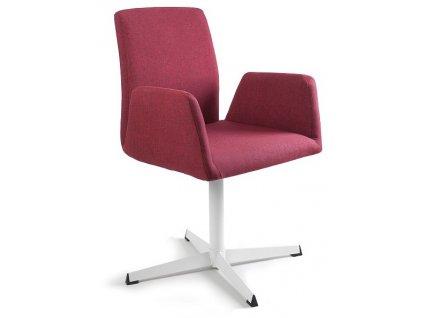 Červená konferenční židle Bela s pevnou kovovou základnou