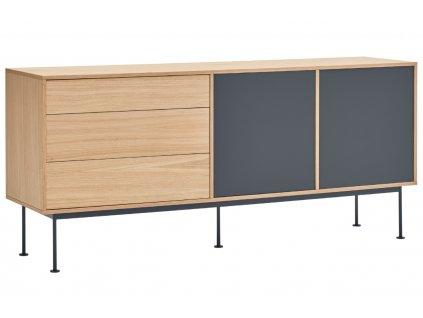 Antracitově šedá dubová komoda Teulat Yoko 180 x 45 cm