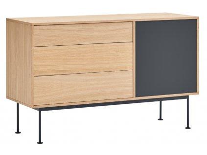 Antracitově šedá dubová komoda Teulat Yoko 128 x 45 cm