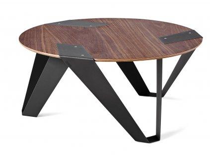 Ořechový konferenční stolek Tabanda Mobiush 75 cm s černou podnoží