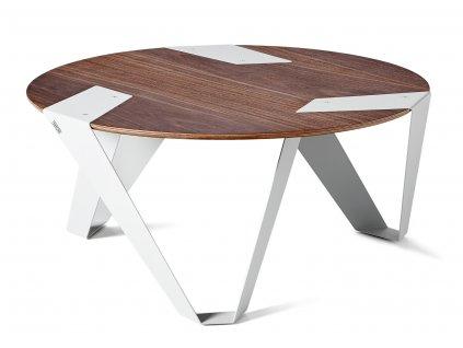Ořechový konferenční stolek Tabanda Mobiush 75 cm s bílou podnoží