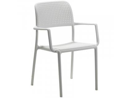 Bílá plastová zahradní židle Bora s područkami