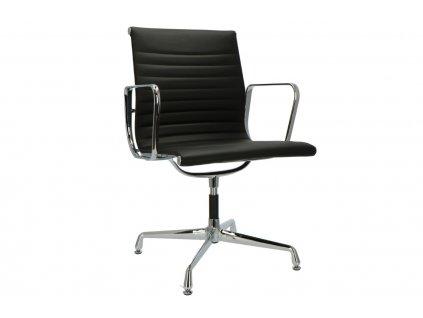 Černá kožená konferenční židle Soft Pad 108