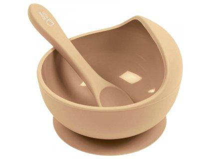Béžová silikonová dětská miska se lžičkou LaForma Epiphany