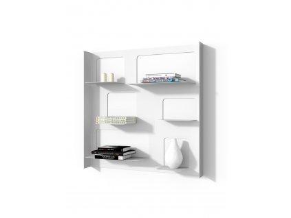 Designová knihovna Marina 3 s bočnicemi, bílá
