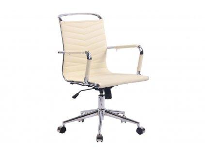 Krémově bílá prošívaná koženková konferenční židle Lexus