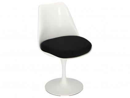 Bílá plastová otočná jídelní židle Tulip s černým sedákem
