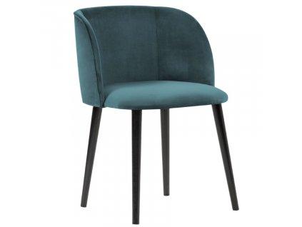 Petrolejově modrá sametová jídelní židle MICADONI NAWAJO