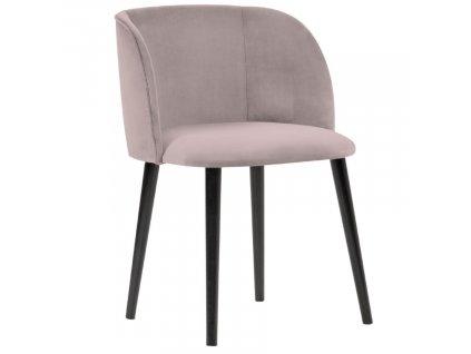 Levandulově růžová sametová jídelní židle MICADONI NAWAJO