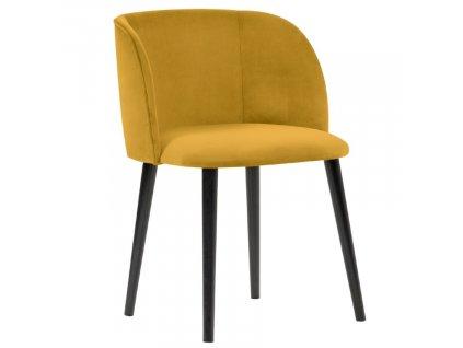 Hořčicově žlutá sametová jídelní židle MICADONI NAWAJO