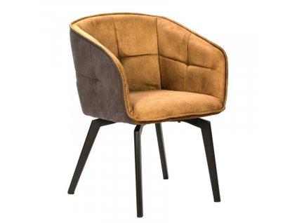 Žlutá látková jídelní židle Marckeric Herta