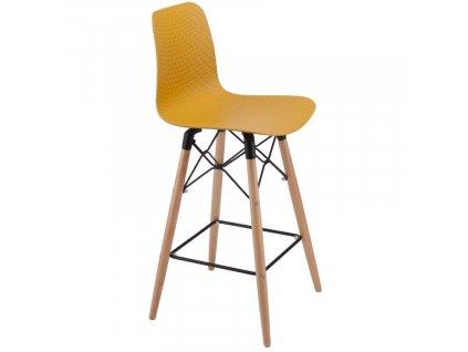 Žlutá plastová barová židle Marckeric Golf-3 105 cm