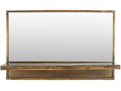 Mosazné kovové závěsné zrcadlo WLL Feyza 61x38 cm