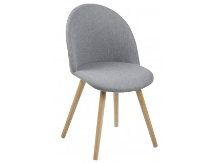 Světle šedá čalouněná látková jídelní židle Aneta s dřevěnou podnoží
