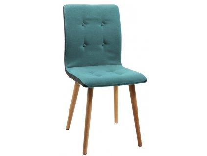Zelená látková jídelní židle Fredy, masivní dubové dřevo ošetřené olejem