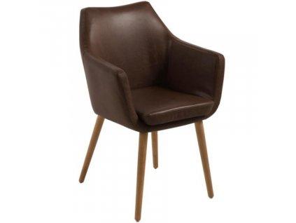 Čokoládově hnědá koženková jídelní židle Marte s područkami