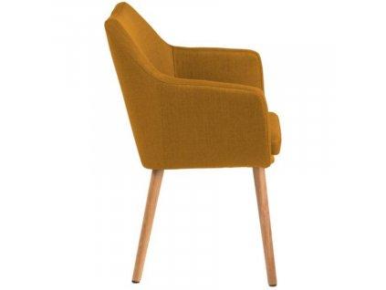 Okrová látková židle Marte s područkami