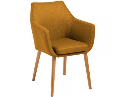 Okrová látková jídelní židle Marte s područkami