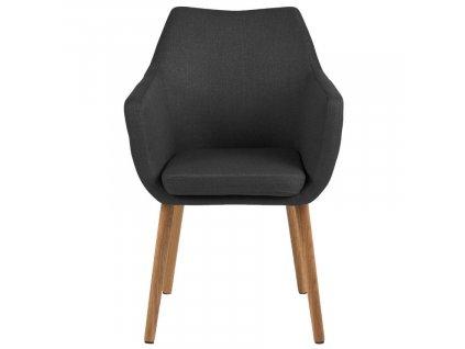 Antracitová látková jídelní židle Marte s područkami