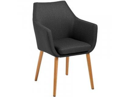 Antracitová látková židle Marte s područkami