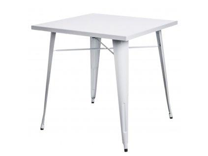 Bílý kovový jídelní stůl Tolix 76 x 76 cm