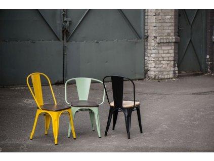 Jídelní židle Tolix 45, černá/ořech