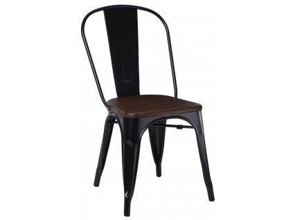 Černá kovová jídelní židle Tolix s tmavým borovicovým sedákem