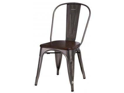 Jídelní židle Tolix 45, metalická/ořech